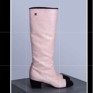 Chanel Boots, pink glitter with black toe and heel